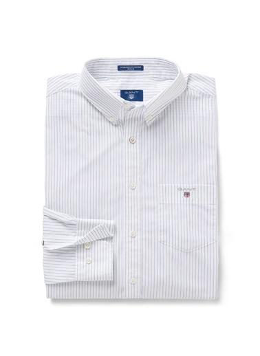 Gant Çizgili Regular Gömlek Beyaz